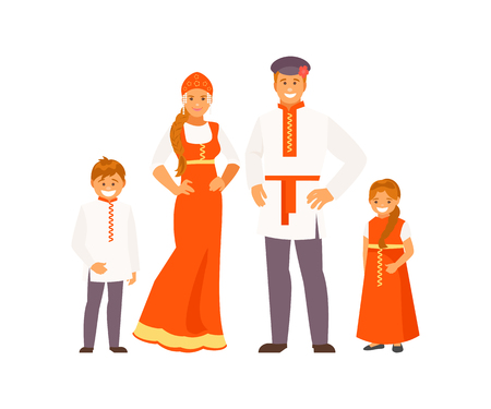 Russian family in traditional clothes Illustration