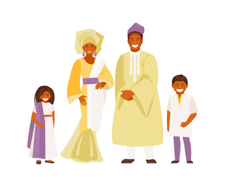 Portrait of a Nigerian family in national dress. Vector illustration Banco de Imagens - 125275330