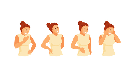 Woman character with pains of different localization. Chest pain, back pain, abdominal and headache. Vector medical illustration