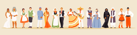 National clothes of Egypt, Italy, Indonesia, the Netherlands, Mexico, Korea, Yemen and Ukraine Vector illustration