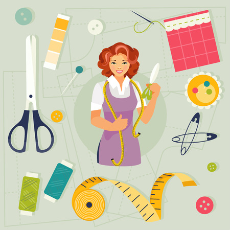 Woman seamstress and a set of sewing supplies. Vector illustration Vectores