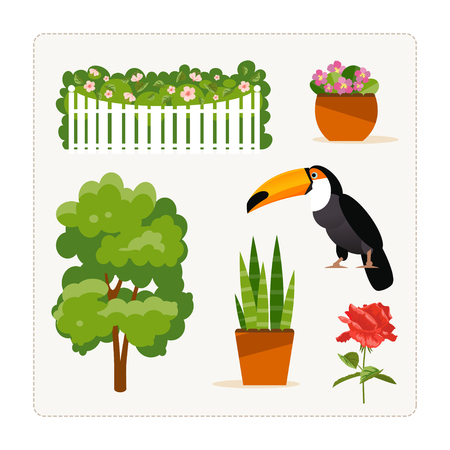Find an extra object. Card for a logical game for children. Plants and bird. Vector illustration