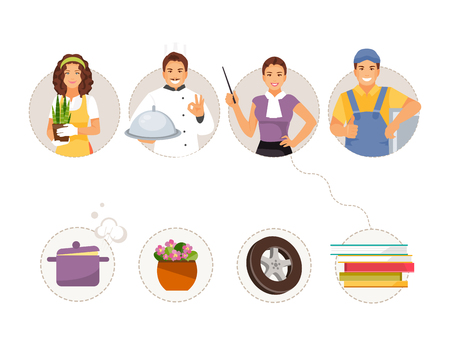 Match professions and objects. Kids educational game. Professions gardener, cook, teacher and auto mechanic. Vector illustration Archivio Fotografico - 124922428