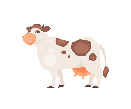 Cartoon cow isolated on white background. Vector illustration  イラスト・ベクター素材