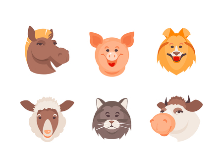 Cartoon set of domestic and farm animals. Vector illustration 向量圖像