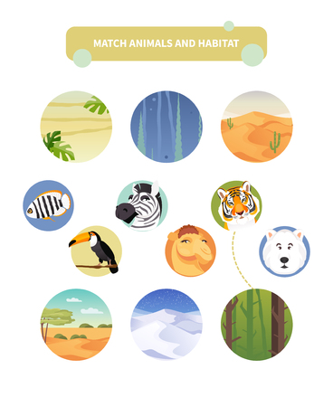Worksheet with match kids educational game. Match animals and habitat. Vector illustration