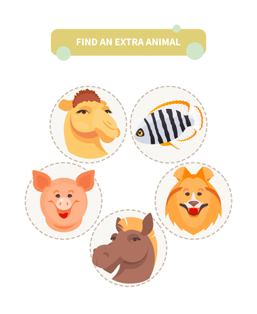 Find an extra animal. Worksheet with children developing game. Vector illustration Archivio Fotografico - 124879674