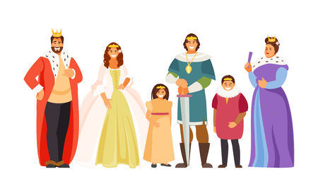 Big fairy-tale Royal family. King, Queen, Prince, Princess, Royal children Vector illustration