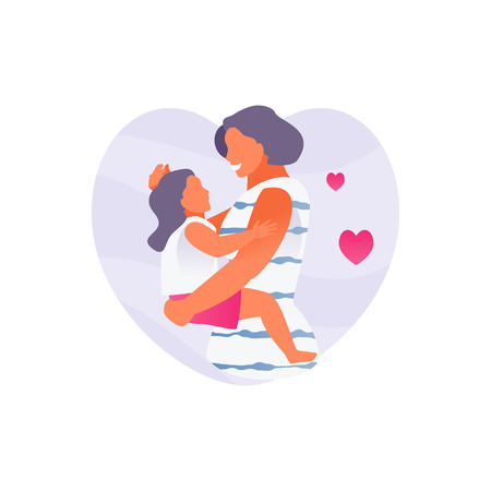 Happy mother holds daughter. Mothers Day. Modern Vector Illustration 向量圖像