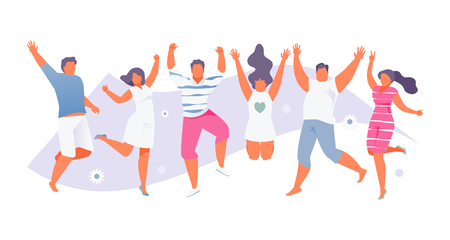 Group of happy people jumping in summer clothes. Modern Vector Illustration