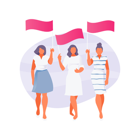 Three girls walking with banners posters. Modern vector illustration 일러스트