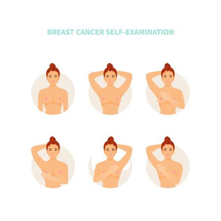 Personaje de mujer examina sus pechos. Cáncer de mama. Infografía médica vectorial, cartel