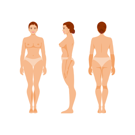 Female anatomy front, back and side view. Medical vector illustration