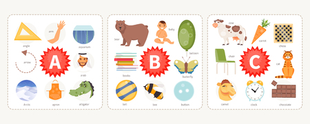 Educational cards with words and pictures to the letters A, B, C. Children alphabet. Vector illustration