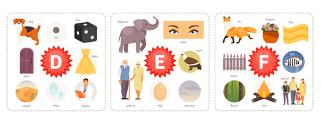 Educational cards with words and pictures to the letters D, E, F. Children alphabet. Vector illustration Illusztráció