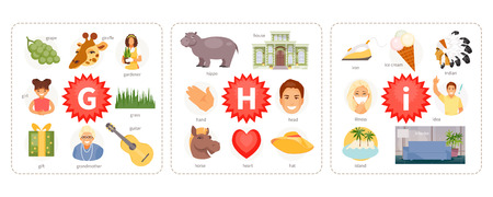 Educational cards with words and pictures to the letters G, H, I. Children alphabet. Vector illustration Illusztráció