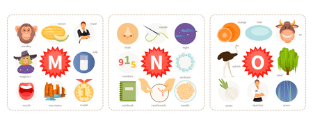 Educational cards with words and pictures to the letters M, N, O. Children alphabet. Vector illustration Ilustração