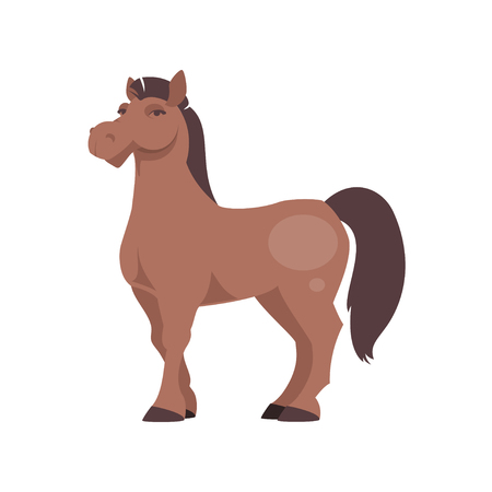 Cartoon horse isolated on white background. Vector illustration