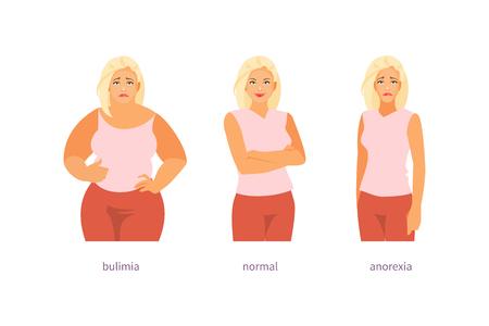 Troubles psychologiques de l'alimentation. Bilimie, anorexie et normal. Illustration vectorielle Vecteurs