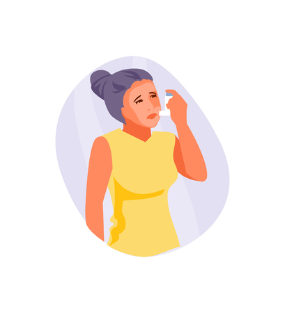 Woman with asthma using inhaler. Medical vector illustration