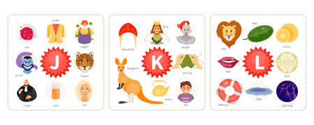 Educational cards with words and pictures to the letters J K, L. Children alphabet. Vector illustration