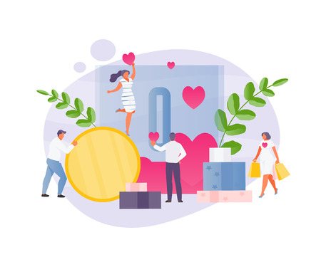 Group of volunteers and charity. Donations and support, love and kindness. Vector stylized illustration
