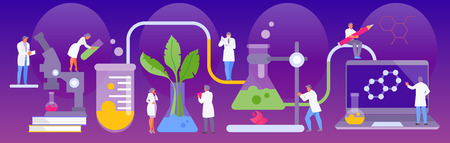 People scientists in the laboratory. Experiments and study. Vector illustration Illustration