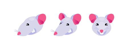 Cartoon rat head in different positions. Vector illustration