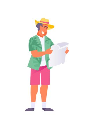 Man tourist in summer clothes with a map in his hands. Vector illustration