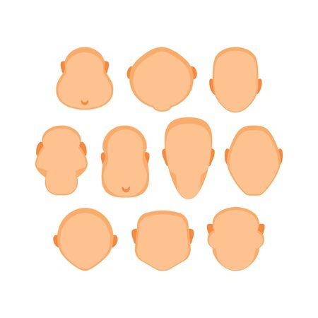 Set of various shapes of human heads. Vector illustration, templates Ilustração