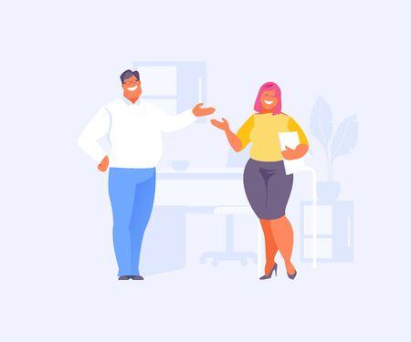 Office communication colleagues talk during the break. Vector illustration Illustration