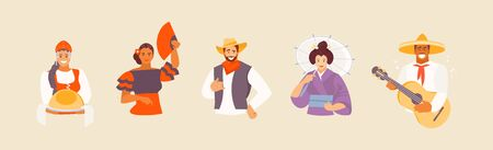 Collection of avatars of different nationalities. Russian, Spanish, American, Japanese and Mexican characters in national costumes. Vector illustration Banque d'images - 131603249