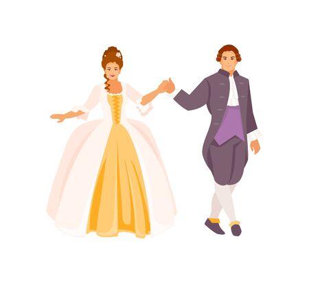 Junger Mann und Frau führen historischen Tanz auf. Polonaise, Walzer, Gesellschaftstanz. Prinz und Prinzessin. Vektor-Illustration