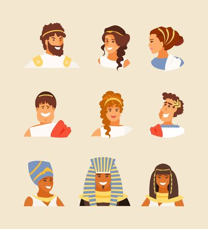Portraits of ancient Greeks, Romans and Egyptians set. Appearance and hairstyles of the ancient world. Vector illustration
