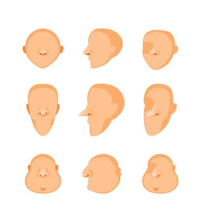 Set of cartoon heads, front view, side view and three quarters. Face templates. Vector illustration