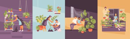 People growing plants. Home garden on the balcony, in the apartment, greenhouse. Vector illustration Standard-Bild - 131602807