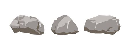 Collection of large stones isolated on white background. Vector illustration