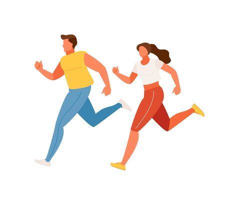 Running man and woman in sportswear. Vector illustration 版權商用圖片 - 131602828