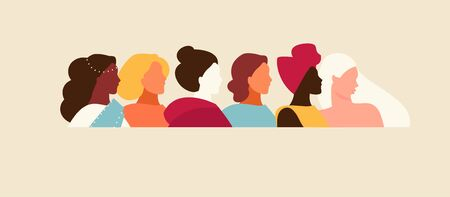 Portraits of a group of women of different nationality and appearance. International Women s Day. Vector horizontal illustration