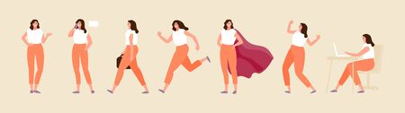 Business woman character in various poses. Standing, walking, running, sitting positions. Vector set Ilustração Vetorial
