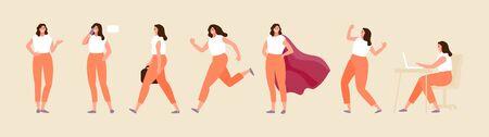 Carácter de mujer de negocios en varias poses. Posiciones de pie, caminar, correr, sentarse. Conjunto de vectores Ilustración de vector