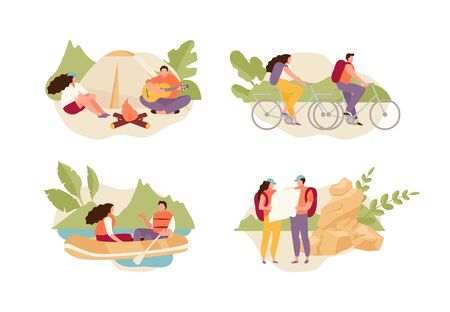 Tourists couple relaxing in nature, riding bicycles, boating, camping. Ecotourism vector illustration set