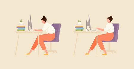 Sitting girl with correct and incorrect posture. Office and workplace hygiene illustration Ilustración de vector