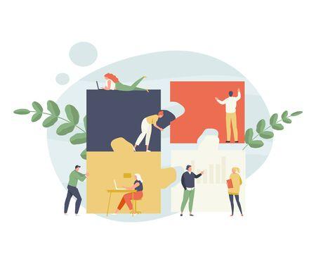 Un groupe de gens d'affaires ajoute un casse-tête. Illustration vectorielle de travail d'équipe et de collaboration