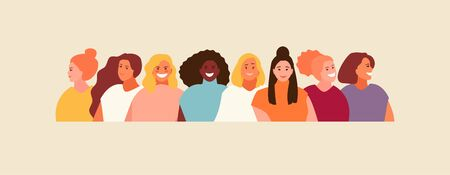 Multi-ethnic group women portraits. Girls avatars set. Women solidarity vector illustration