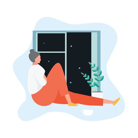 Insomniac girl sitting by the window. Sleep Disorders Vector Illustration Illustration