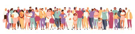 Multinational and multicultural crowd of people . People of different ages and appearance large set on a white background