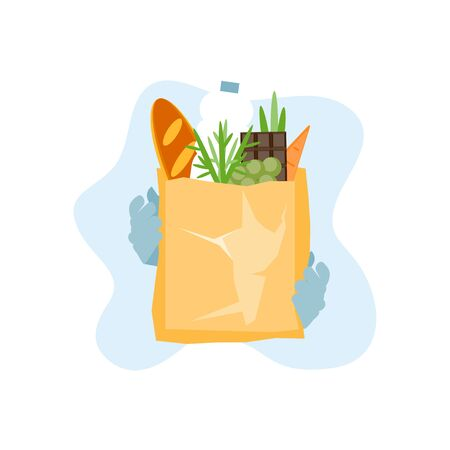 Food delivery online shopping at a grocery store. Vector illustration 向量圖像