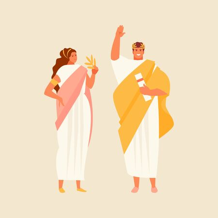 Roman citizens man and woman in traditional historical costumes. Vector characters