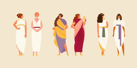 Group of ancient Greek, Roman and Egyptian women in historical costumes. Vector characters